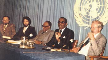 Press conference at the UN on the day of the presentation, Nov. 27, 1978.