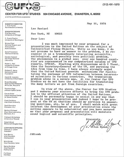 A letter from Dr. J. Allen Hynek congratulating me on my UN proposal and his desire to be part of it